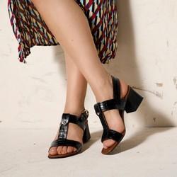 Sandały ze skóry croco na słupku, czarny, 92-D-165-1-39, Zdjęcie 1