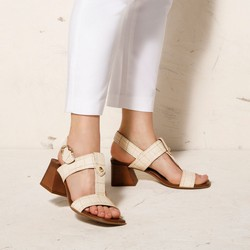 Sandały ze skóry croco na słupku, beżowy, 92-D-165-9-38, Zdjęcie 1