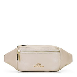 Damska torebka nerka ze skóry, jasny beż, 92-4E-301-0, Zdjęcie 1