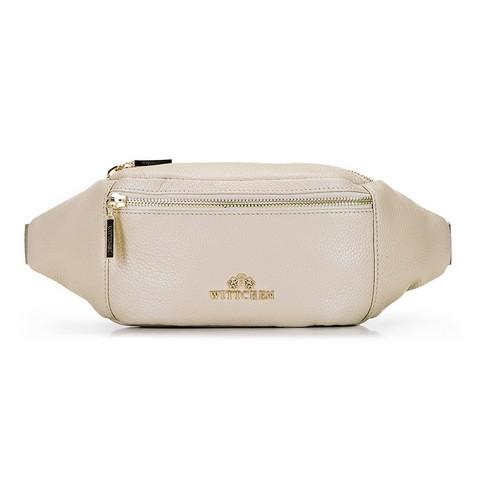 Damska torebka nerka ze skóry, jasny beż, 92-4E-301-1, Zdjęcie 1