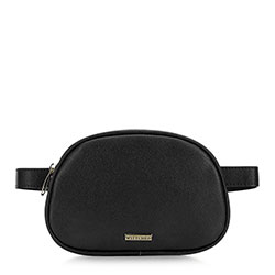 Women's box-shaped waist bag, black, 91-4Y-306-1, Photo 1