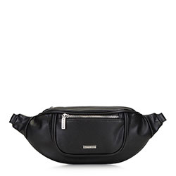 Women's curve waist bag, black, 91-4Y-307-1, Photo 1