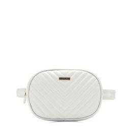 Damska torebka nerka owalna pikowana, biały, 92-4Y-574-0, Zdjęcie 1