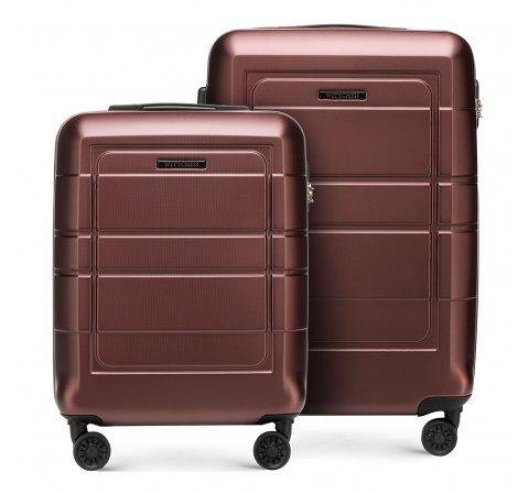 Zestaw walizek z geometrycznymi żłobieniami, Brązowy, 56-3H-54S-9R, Zdjęcie 1