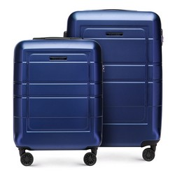 Zestaw walizek z geometrycznymi żłobieniami, granatowy, 56-3H-54S-9R, Zdjęcie 1