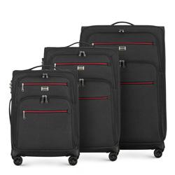 Zestaw walizek miękkich z czerwonym suwakiem, graphite, 56-3S-50S-12, Photo 1