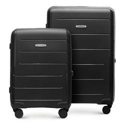 Zestaw walizek z polipropylenu w nowoczesny wzór, czarny, 56-3T-77S-1R, Zdjęcie 1
