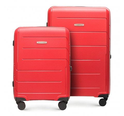 Zestaw walizek z polipropylenu w nowoczesny wzór, czerwony, 56-3T-77S-3R, Zdjęcie 1