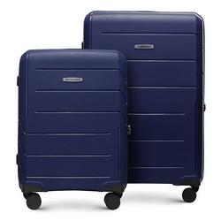 Zestaw walizek z polipropylenu w nowoczesny wzór, granatowy, 56-3T-77S-9R, Zdjęcie 1