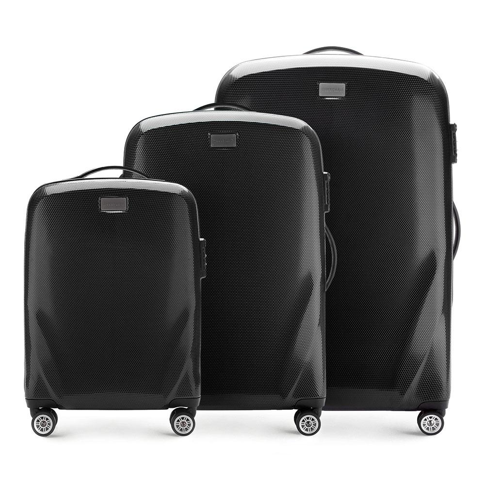 Комплект чемодановКомплект чемоданов из коллекции PC Ultra Light., изготовлен из прочного материала - поликарбонат.  Дополнительно покрыт специальным покрытием, повышающим устойчивость к царапинам.  Имеет 4 колесика сделанные из пластика ABS с термопластичным покрытием, трехступенчатая выдвижная ручка, прорезиненная ручка для ношения в руке.  Дополнительно кодовый замок TSA, который гарантирует безопасное открытие чемоданов и его повторное закрытие без повреждения замка сотрудниками таможни.  Особенности модели:  отделение с эластичными ремнями, предохраняющими одежду от перемещения; отделение на молнии;  2 кармана из сетки на молнии.    В состав комплекта входят:    Маленький чемодан  на колесах 56-3P-571  средний чемодан на колесах 56-3P-572  большой чемодан на колесиках 56-3P-573<br><br>секс: унисекс<br>Цвет: черный<br>материал:: Поликарбонат<br>подкладка:: полиэстер<br>высота (см):: 56 - 68 - 79<br>ширина (см):: 37 - 46 - 53<br>глубина (см):: 20 - 23 - 27<br>размер:: комплект<br>объем (л):: 32 - 63 - 95<br>вес (кг):: 2,3 - 3,2 - 3,7<br>Комплекты: так