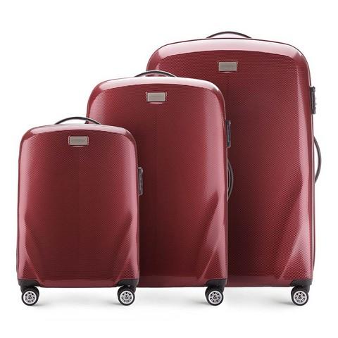 Zestaw walizek, bordowy, 56-3P-57S-50, Zdjęcie 1