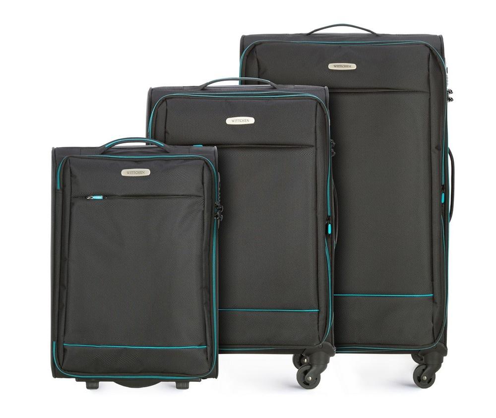 Комплект чемодановКомплект чемоданов из коллекции Bon Voyage сделана из полиэстра. Оснащен четырьмя колесикамми ,телескопической и дополнтильной прорезиненной ручками, что делает передвежение багажа более комфортным. Внутри и снаружи чемодана яркие  вставки. Дополнительно замоком TSA,который очень удобен  в случае проверки багажа таможенной службой и гарантирует безопасное открытие чемоданов и его повторное закрытие без повреждения замка сотрудниками таможни. Модель также имеет молнию, которая позволяет увеличить емкости чемодан. Особенности модели:  основное отделение на молнии с регулируемыми ремнями;  карман из сетки на молнии. Снаружи  с лицевой стороны карман на молнии. В состав комплекта входят: Маленький чемодан на колесах 56-3S-461; Средний чемодан на колесах 56-3S-462; Большой чемодан на колесах 56-3S-463.<br><br>секс: унисекс<br>Цвет: черный<br>материал:: Полиэстер<br>подкладка:: полиэстер<br>высота (см):: 54 - 67 - 76<br>ширина (см):: 36 - 41 - 47<br>глубина (см):: 20 - 27 - 31<br>размер:: комплект<br>объем (л):: 33 - 56 - 91<br>вес (кг):: 2,1 - 2,7 - 3,2<br>Комплекты: так