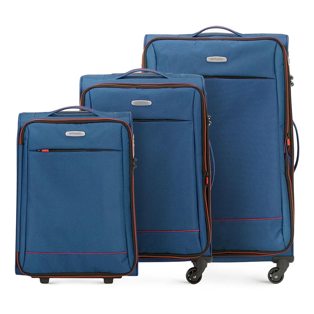 кКомплект чемоданов из коллекции Bon Voyage сделана из полиэстра. Оснащен четырьмя колесикамми ,телескопической и дополнтильной прорезиненной ручками, что делает передвежение багажа более комфортным. Внутри и снаружи чемодана яркие  вставки. Дополнительно замоком TSA,который очень удобен  в случае проверки багажа таможенной службой и гарантирует безопасное открытие чемоданов и его повторное закрытие без повреждения замка сотрудниками таможни. Модель также имеет молнию, которая позволяет увеличить емкости чемодан. Особенности модели:  основное отделение на молнии с регулируемыми ремнями;  карман из сетки на молнии. Снаружи  с лицевой стороны карман на молнии. В состав комплекта входят: Маленький чемодан на колесах 56-3S-461; Средний чемодан на колесах 56-3S-462; Большой чемодан на колесах 56-3S-463.<br><br>секс: унисекс<br>Цвет: синий<br>материал:: Полиэстер<br>подкладка:: полиэстер<br>высота (см):: 54 - 67 - 76<br>ширина (см):: 36 - 41 - 47<br>глубина (см):: 20 - 27 - 31<br>размер:: комплект<br>объем (л):: 33 - 56 - 91<br>вес (кг):: 2,1 - 2,7 - 3,2<br>Комплекты: так