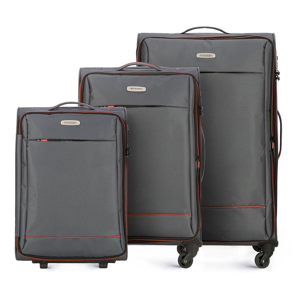 Комплект чемодановкКомплект чемоданов из коллекции Bon Voyage сделана из полиэстра. Оснащен четырьмя колесикамми ,телескопической и дополнтильной прорезиненной ручками, что делает передвежение багажа более комфортным. Внутри и снаружи чемодана яркие  вставки. Дополнительно замоком TSA,который очень удобен  в случае проверки багажа таможенной службой и гарантирует безопасное открытие чемоданов и его повторное закрытие без повреждения замка сотрудниками таможни. Модель также имеет молнию, которая позволяет увеличить емкости чемодан. Особенности модели:  основное отделение на молнии с регулируемыми ремнями;  карман из сетки на молнии. Снаружи  с лицевой стороны карман на молнии. В состав комплекта входят: Маленький чемодан на колесах 56-3S-461; Средний чемодан на колесах 56-3S-462; Большой чемодан на колесах 56-3S-463.<br><br>секс: унисекс<br>Цвет: серый<br>материал:: Полиэстер<br>подкладка:: полиэстер<br>высота (см):: 54 - 67 - 76<br>ширина (см):: 36 - 41 - 47<br>глубина (см):: 20 - 27 - 31<br>размер:: комплект<br>объем (л):: 33 - 56 - 91<br>вес (кг):: 2,1 - 2,7 - 3,2<br>Комплекты: так
