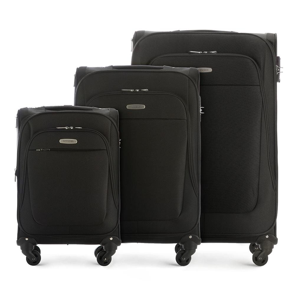 Комплект чемодановКомплект легких и вместительных чемоданов  из коллекции Travel Light. Каждый чемодан оснащен  четырьмя прочными колесиками, которые позволяют легко перемещать чемодан,телескопической ручкой, функциональными карманами на лицевой стороне и дополнительной, боковой ручкой для удобного подъема багажа. Дополнительно замоком TSA, который гарантирует безопасное открытие чемоданов и его повторное закрытие без повреждения замка сотрудниками таможни. Особенности модели:  основное отделение с регулируемыми ремнями;  карман из сетки на молнии;  карман для документов на молнии.    Снаружи:    с лицевой стороны 2 кармана на молнии;  молния, позволяющая увеличить размер чемодана на 6см;  боковой карман на молнии.     В состав комплекта входят:    Маленький чемодан  на колесах 56-3S-481-10  средний чемодан на колесах 56-3S-482-10  большой чемодан на колесиках 56-3S-483-10<br><br>секс: унисекс<br>Цвет: черный<br>материал:: Полиэстер<br>подкладка:: полиэстер<br>высота (см):: 55- 65 - 75<br>ширина (см):: 35 - 40 - 46<br>глубина (см):: 23- 28 - 35<br>размер:: комплект<br>объем (л):: 35 - 60 - 95<br>вес (кг):: 2,8 - 3,3 - 3,9<br>Комплекты: так