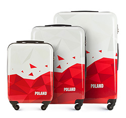 Luggage set, white-red, 56-3A-24S-TR, Photo 1
