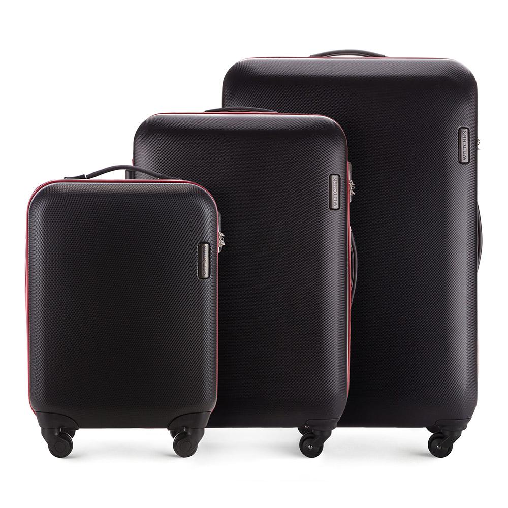 Комплект чемодановКомплект чемоданов из коллекции ABS S-Line. Изготовлен из высокопрочного пластика ABS.  Четыре прочных колеса позволяют легко перемещать чемодан. Имеет телескопическую ручку с фиксатором, эластичная прорезиненная ручка и кодовый замок.  Особенности модели:  отделение с эластичными ремнями, предохраняющими одежду от перемещения;;  отделение на молнии;  карман на молнии.    В состав комплекта входят:    Маленький чемодан  на колесах 56-3-610;  средний чемодан на колесах 56-3-612;  большой чемодан на колесиках 56-3-613.<br><br>секс: унисекс<br>Цвет: черный<br>материал:: ABS пластик<br>подкладка:: полиэстер<br>высота (см):: 55 - 71 - 81<br>ширина (см):: 36 - 47.5 - 54<br>глубина (см):: 20 - 24 -28<br>размер:: комплект<br>объем (л):: 27 - 64 - 94<br>вес (кг):: 2.8 - 3.8 - 4.5<br>Комплекты: так