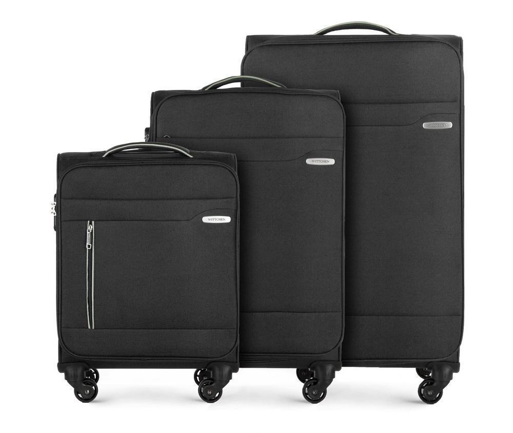 Комплект чемоданов Wittchen 56-3S-44S-10, черныйКомплект чемоданов из коллекции Stripe Line изготовлен из полиэстера. Каждый чемодан оснащен четырьмя прочными колесиками, телескопической и дополнительно ручками, которые позволяют легко перемещать багаж. Дополнительно снаружи внешние карманы. Защита в виде кодового замка, который препятствует доступу внутрь чемодана. Внутри:основное отделение на молнии с регулируемыми ремнями, предохраняющими одежду от перемещения; карман - сетка на молнии. Снаружи: с лицевой стороны 2 кармана закрываются на молнию; дополнительно молния, позволяющая увеличить объем чемодана на 5 см. В состав комплекта входят: Маленький чемодан на колесах 56-3S-441; Средний чемодан на колесах 56-3S-442; Большой чемодан на колесах 56-3S-443.<br><br>секс: унисекс<br>Цвет: черный<br>материал:: Полиэстер<br>высота (см):: 55 - 69 - 79<br>ширина (см):: 38 - 41 - 46<br>глубина (см):: 20 - 25 - 29<br>размер:: комплект<br>объем (л):: 31 - 58 - 81<br>вес (кг):: 2,4 - 2,9 - 3,5<br>Комплекты: так