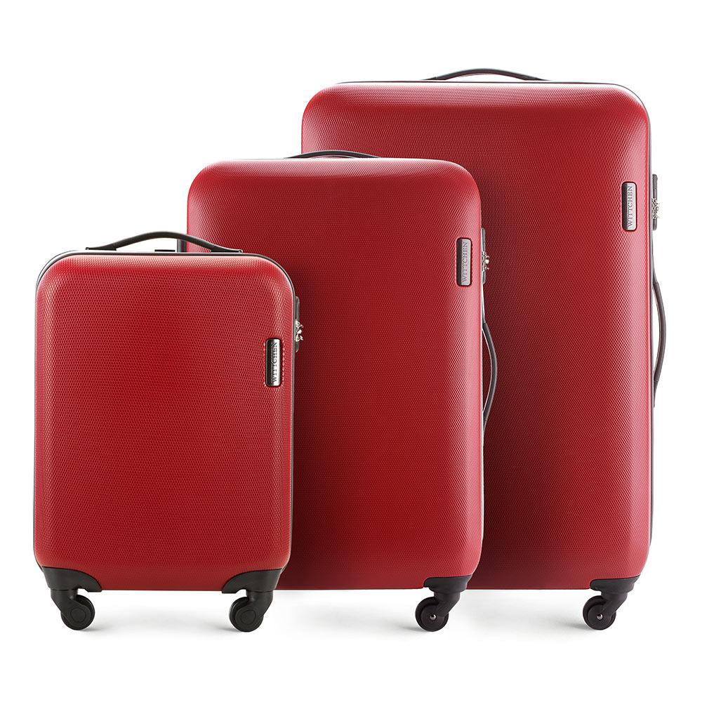 Комплект чемодановКомплект чемоданов из коллекции ABS S-Line. Изготовлен из высокопрочного пластика ABS.  Четыре прочных колеса позволяют легко перемещать чемодан. Имеет телескопическую ручку с фиксатором, эластичная прорезиненная ручка и кодовый замок.  Особенности модели:  отделение с эластичными ремнями, предохраняющими одежду от перемещения;;  отделение на молнии;  карман на молнии.    В состав комплекта входят:    Маленький чемодан  на колесах 56-3-610;  средний чемодан на колесах 56-3-612;  большой чемодан на колесиках 56-3-613.<br><br>секс: унисекс<br>материал:: ABS пластик<br>подкладка:: полиэстер<br>высота (см):: 55 - 71 - 81<br>ширина (см):: 36 - 47.5 - 54<br>глубина (см):: 20 - 24 -28<br>размер:: комплект<br>объем (л):: 27 - 64 - 94<br>вес (кг):: 2.8 - 3.8 - 4.5<br>Комплекты: так