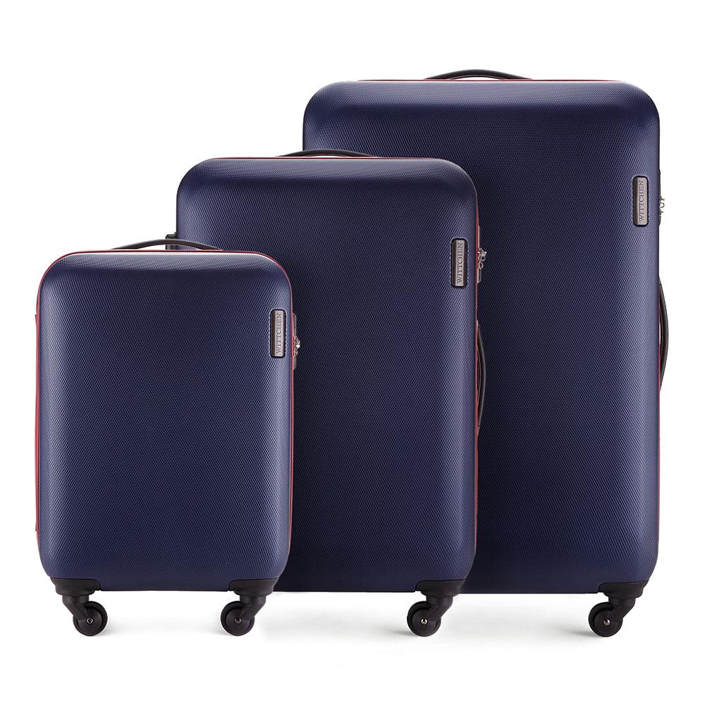 Комплект чемодановКомплект чемоданов из коллекции ABS S-Line. Изготовлен из высокопрочного пластика ABS.  Четыре прочных колеса позволяют легко перемещать чемодан. Имеет телескопическую ручку с фиксатором, эластичная прорезиненная ручка и кодовый замок.  Особенности модели:  отделение с эластичными ремнями, предохраняющими одежду от перемещения;;  отделение на молнии;  карман на молнии.    В состав комплекта входят:    Маленький чемодан  на колесах 56-3-610;  средний чемодан на колесах 56-3-612;  большой чемодан на колесиках 56-3-613.<br><br>секс: унисекс<br>Цвет: синий<br>материал:: ABS пластик<br>подкладка:: полиэстер<br>высота (см):: 55 - 71 - 81<br>ширина (см):: 36 - 47.5 - 54<br>глубина (см):: 20 - 24 -28<br>размер:: комплект<br>объем (л):: 27 - 64 - 94<br>вес (кг):: 2.8 - 3.8 - 4.5<br>Комплекты: так