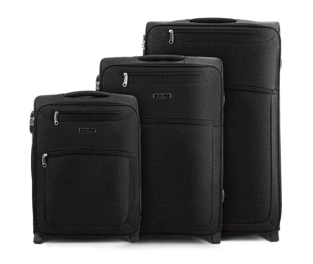 Комплект чемодановКомплект чемоданов из коллекции VIP Collection изготовлен из полиэстера. Имеет четыре колеса, подножку для поддержания стабильности чемодана, телескопическую ручку, обеспечивающую удобство пережвежения багажа и кодовый замок. Внутри: основное отделение на молнии с регулируемыми ремнями, предохраняющими одеждуот перемещения; карман на молнии. Снаружи с лицевой стороны два кармана на молнии. В состав комплекта входят: Маленький чемодан на колесах V25-3S-251; Средний чемодан на колесах V25-3S-252; Большой чемодан на колесиках V25-3S-253.<br><br>секс: унисекс<br>Цвет: черный<br>материал:: Полиэстер<br>подкладка:: полиэстер<br>высота (см):: 53 - 63 - 73<br>ширина (см):: 38 - 42 - 47<br>глубина (см):: 20 - 26 - 28<br>размер:: комплект<br>объем (л):: 36 - 62 - 86<br>вес (кг):: 2,9 - 3,5 - 4,1<br>Комплекты: так