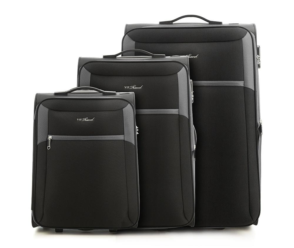 Комплект чемодановКомплект чемоданов из коллекции VIP Collection выполнен из полиэстера.Имеет два колеса и подножку, что поддерживает стабильность чемодана.  Дополнительно  телескопическая ручка, обеспечивающая удобство передвижения чемодана и кодовый замок.  Внутри:    основное отделение на молнии с регулируемыми ремнями, предохраняющими одежду от перемещения.;  2 кармана на молнии.   Снаружи:    С лицевой стороны карман на молнии.    В состав комплекта входит  Маленкий чемодан V25-3S-231;  Средний чемодан V25-3S-232;  Большой чемодан V25-3S-233.<br><br>секс: унисекс<br>Цвет: черный<br>материал:: Полиэстер<br>Комплекты: так