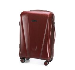 Zestaw walizek z polikarbonu geometrycznych, bordowy, 56-3P-12S-35, Zdjęcie 1