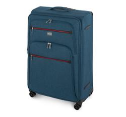 Zestaw walizek miękkich z czerwonym suwakiem, morski, 56-3S-50S-91, Zdjęcie 1