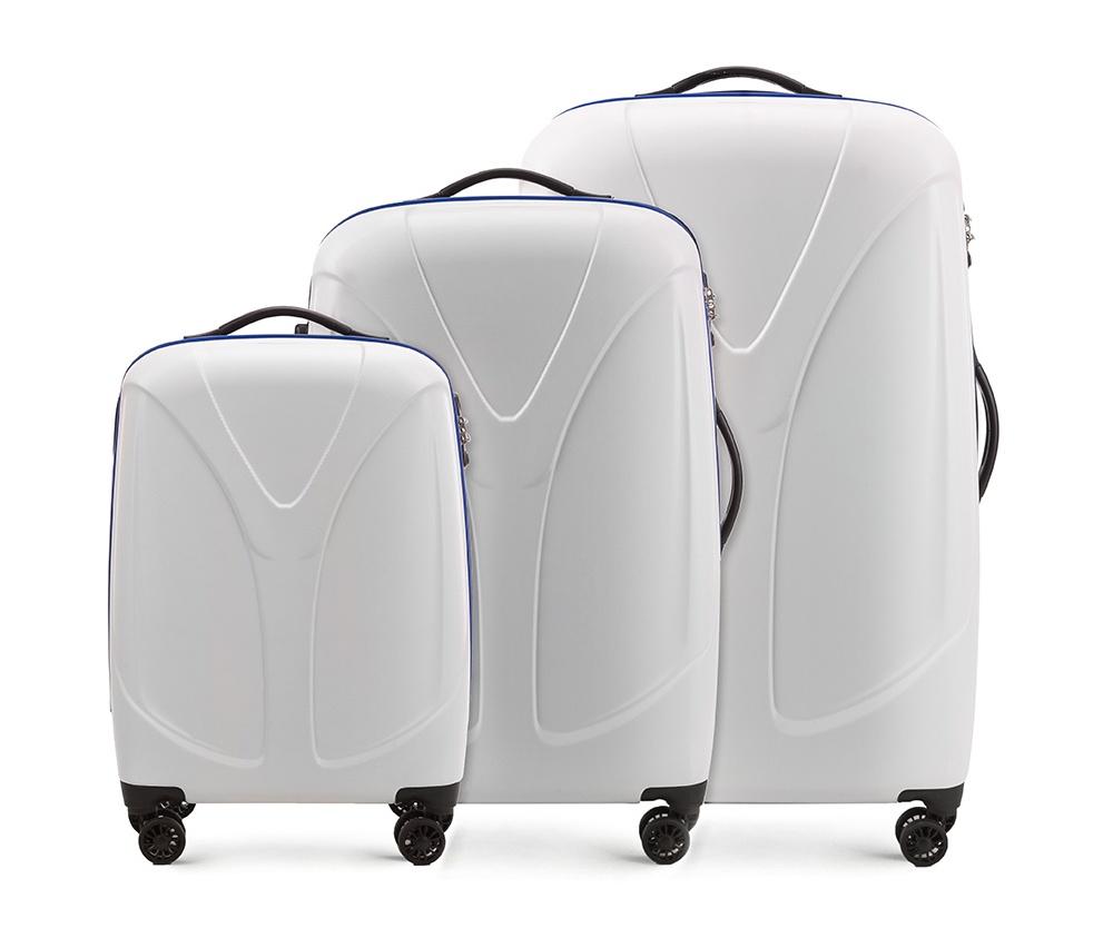 Комплект чемодановКомплект чемоданов из коллекции  V-Line, сделан из прочного    материала - поликарбонат. Оснащен четырьмя колесами,   телескопической  ручкой, эластичной резиновой ручкой для   ношения в руке и замоком TSA.&#13;<br>&#13;<br>Внутри : &#13;<br>- отделение с эластичными  ремнями, предохраняющими одежду от перемещения;  &#13;<br>- отделение на молнии;   &#13;<br>- карман на молнии.&#13;<br>&#13;<br>В комплект входит:&#13;<br>- маленький чемодан 56-3P-951;&#13;<br>- средний чемодан 56-3P-952 ;&#13;<br>- большой чемодан 56-3P-953.<br><br>секс: унисекс<br>Цвет: белый<br>подкладка:: poliester<br>высота (см):: 56 - 70 - 79,5<br>ширина (см):: 38 - 46 - 53<br>глубина (см):: 20,5 - 25 - 28<br>размер:: zestaw<br>объем (л):: 34 - 59 - 87<br>вес (кг):: 2,4 - 3,1 - 3,9