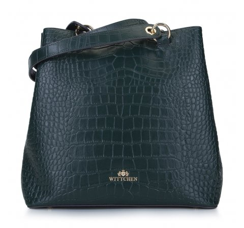 Shopperka ze skóry croco, ciemny zielony, 93-4E-632-1, Zdjęcie 1