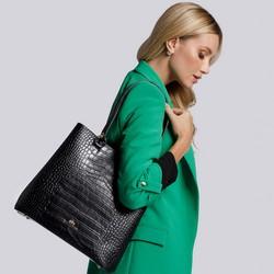 Shopperka ze skóry croco, czarny, 93-4E-632-1, Zdjęcie 1