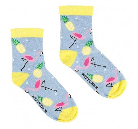 Damskie skarpetki we flamingi i ananasy, błękitny, 92-SK-006-X2-37/39, Zdjęcie 1