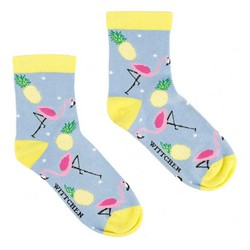 Women's socks with flamingos and pineapples, sky blue, 92-SK-006-X1-37/39, Photo 1
