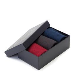 Męskie skarpetki w romby - zestaw 3 par, granatowo - czerwony, 91-SK-010-X1-40/42, Zdjęcie 1