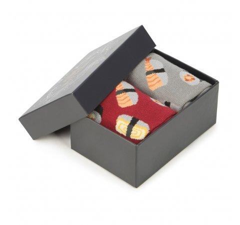 Zestaw męskich skarpetek w sushi, czerwono - szary, 92-SK-011-X1-40/42, Zdjęcie 1