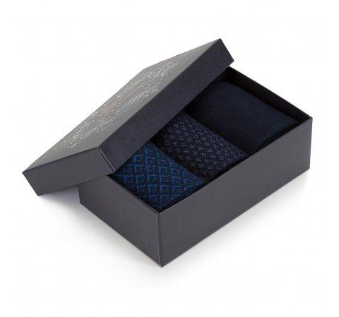 Zestaw skarpet męskich, granatowo - niebieski, 89-SK-001-X2-40/42, Zdjęcie 1