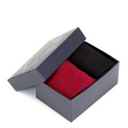 Zestaw skarpet męskich, czarno - czerwony, 89-SK-002-X4-40/42, Zdjęcie 1
