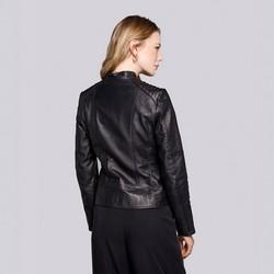 Skórzana kurtka motocyklowa pikowana na ramionach, czarny, 92-09-601-1-S, Zdjęcie 1