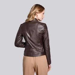 Skórzana kurtka motocyklowa pikowana na ramionach, brązowy, 92-09-601-5-XL, Zdjęcie 1