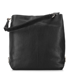 skórzana torebka damska typu worek, czarny, 91-4E-302-1, Zdjęcie 1