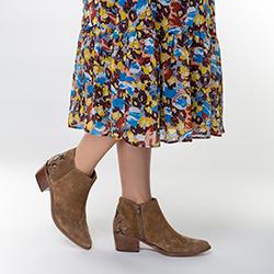 Damskie kowbojki zamszowe z przeszyciami, brązowy, 91-D-051-4-38, Zdjęcie 1