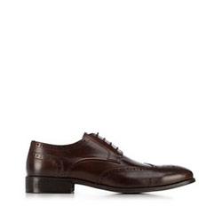 skórzane pantofle męskie, Brązowy, 91-M-900-4-39, Zdjęcie 1