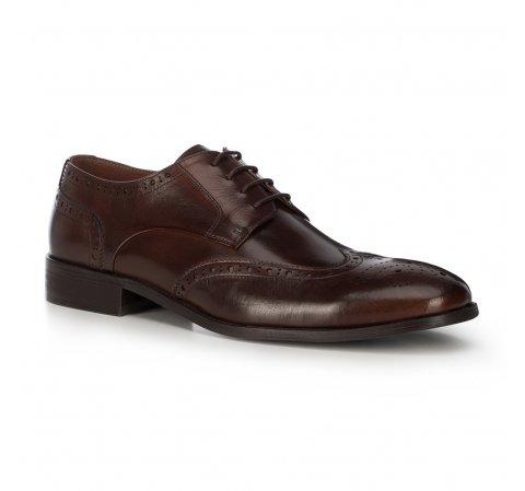 skórzane pantofle męskie, Brązowy, 91-M-900-1-41, Zdjęcie 1