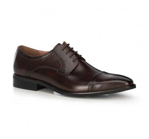 Męskie buty do garnituru skórzane, Brązowy, 91-M-901-1-40, Zdjęcie 1