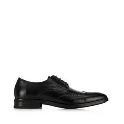 skórzane pantofle męskie, czarny, 91-M-904-1-45, Zdjęcie 1