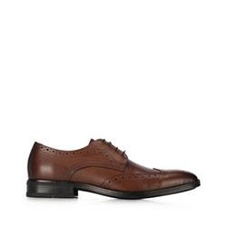 skórzane pantofle męskie, Brązowy, 91-M-904-4-39, Zdjęcie 1