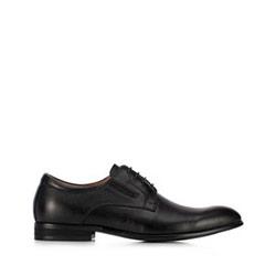 Buty do garnituru skórzane z gumką, czarny, 91-M-908-1-42, Zdjęcie 1