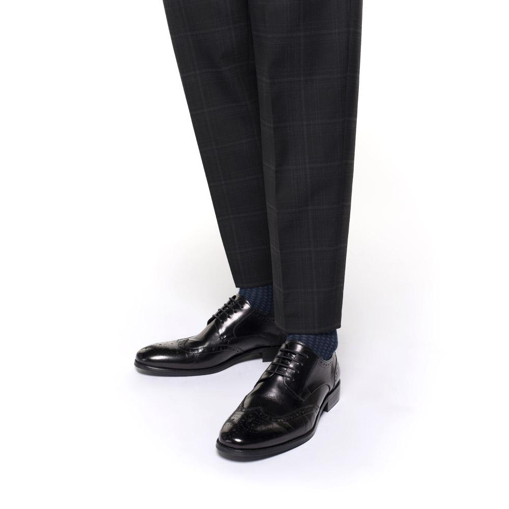 Męskie brogsy skórzane, czarny, 91-M-904-1-40, Zdjęcie 1