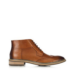 Men's leather lace up boots, light brown, 91-M-903-5-41, Photo 1