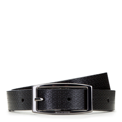 Women's reversible leather belt with rectangular buckle, brown-black, 91-8D-304-1-M, Photo 1